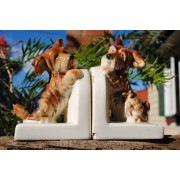 Ceramic dog book-ends