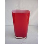 Heavy red glass vase